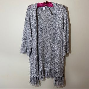 Loft outlet lounge fringed open front sweater